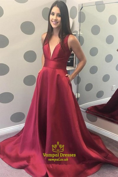 Burgundy V Neck Sleeveless Satin Prom Dress With Pockets And Train