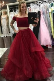Off The Shoulder Short Sleeve Tulle Two Piece Prom Dress With Ruffled