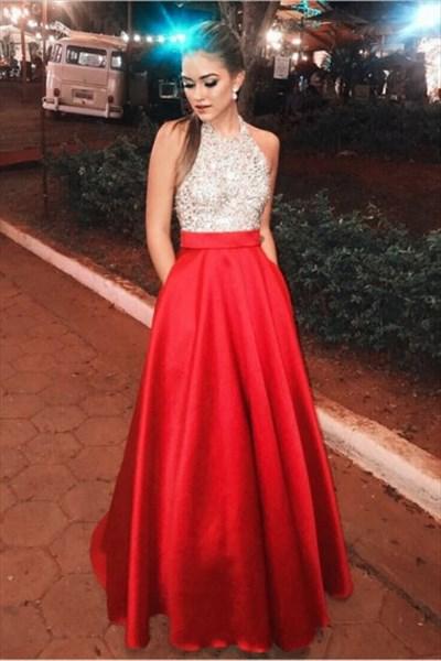 Red Halter Neck Sleeveless Beaded Satin Floor Length Prom Dress