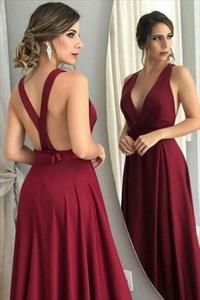 A Line Burgundy Deep V Neck Cross Back Strap Long Chiffon Prom Dress