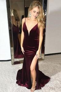 Spaghetti Strap Deep V Neck Open Back Sheath Prom Dress With Slits