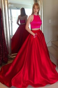 Halter Sleeveless Satin Two Piece Prom Dress With Pockets And Train