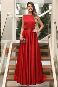 Simple A Line Red Bateau Neckline Sleeveless Long Satin Prom Dress