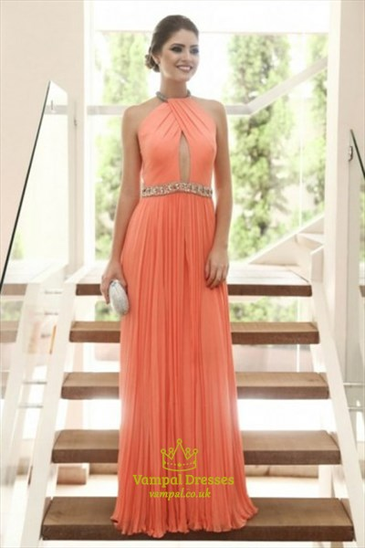 A Line Orange High Neck Keyhole Pleated Chiffon Prom Dress With Belt