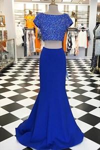 Royal Blue Bateau Beaded Short Sleeve Mermaid Two Piece Prom Dress