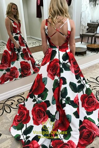 V Neck Backless Side Cut Out Floral Print Satin Prom Dress With Train