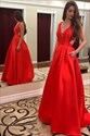 Red V Neck Sleeveless Cut Out Back Satin Long Prom Dress With Pockets