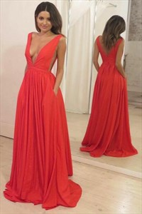 A Line V Neck Pleated Side Cut Out Chiffon Prom Dress With Pockets
