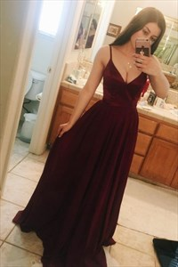 Burgundy Spaghetti Strap Sleeveless Floor Length Velvet Prom Dress