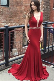 Red Deep V Back Sheath Satin Mermaid Maxi Prom Dress With Beaded Belt