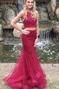 Burgundy High Neck Sleeveless Beaded Tulle Two Piece Prom Dresses