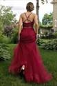 Burgundy High Neck Sleeveless Beaded Tulle Two Piece Prom Dresses