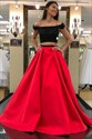 Red Off The Shoulder Cap Sleeve Satin Two Piece Prom Dress With Lace