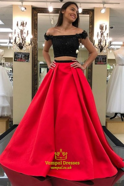 3b817669b7e0 Red Off The Shoulder Cap Sleeve Satin Two Piece Prom Dress With Lace ...