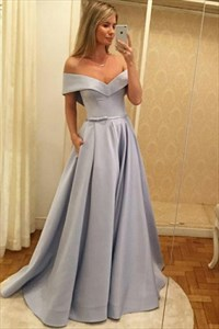 Simple A Line Light Blue Off The Shoulder Cap Sleeve Satin Prom Dress