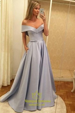 Simple A Line Light Blue Off The Shoulder Cap Sleeve Satin Prom Dress