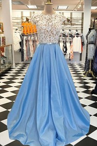 Sky Blue Jewel Neck Cap Sleeve Keyhole Back Dress With Lace-Applique