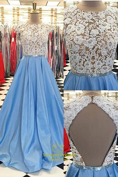 Sky Blue Jewel Neck Cap Sleeve Keyhole Back Dress With Lace-Applique