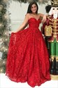 Elegant A Line Red Sweetheart Sleeveless Lace Overlay Prom Dress