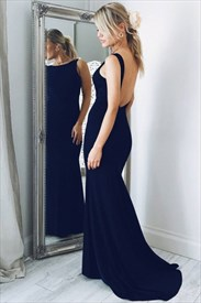 Navy Blue Bateau Open Back Sheath Long Chiffon Prom Dress With Train