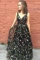 A Line V Neck Sleeveless Floor Length Chiffon Floral Print Dress