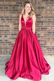 Fuchsia V Neck Beaded Sleeveless Long Satin Prom Dress With Pockets