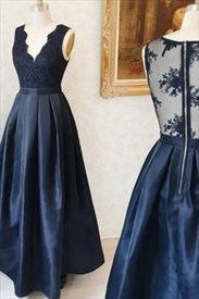Navy Blue A Line Satin Tea Length Prom Dress With Illusion Back
