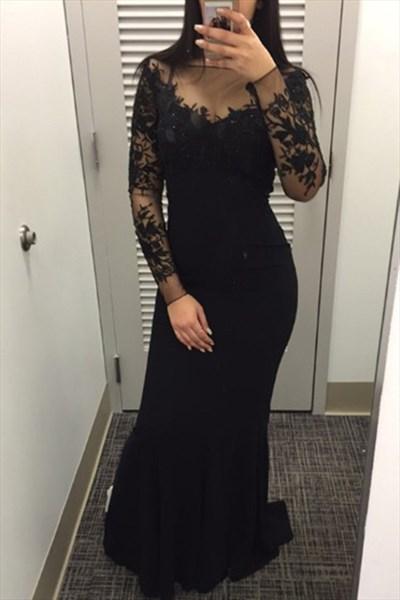 Black Bateau Neckline Long Sleeve Sheath Prom Dress With Applique