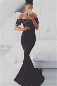Off The Shoulder Short Sleeve Mermaid Prom Dress With Lace Bodice