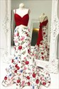 Spaghetti Strap Ruched Floral Print Two Piece Prom Dress With Bow