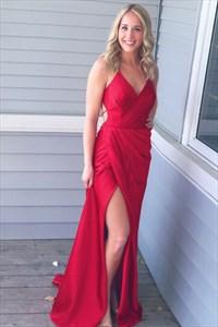 Red V Neck Open Back Ruched Floor Length Satin Prom Dress With Split