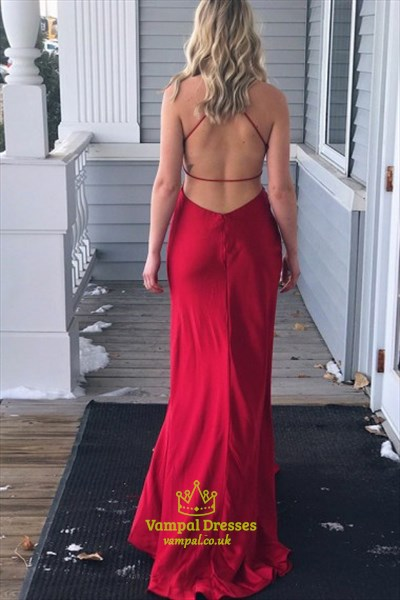 Red V Neck Open Back Ruched Floor Length Satin Prom Dress With Split
