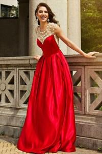 A Line Red Jewel Neck Beaded Sleeveless Floor Length Satin Prom Dress