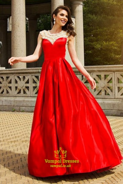 A Line Red Jewel Neck Beaded Sleeveless Floor Length Satin Prom Dress