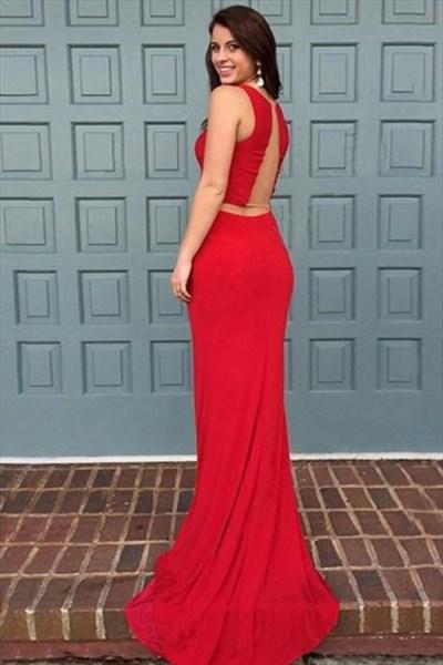 Bateau Neckline Sleeveless Sheer Back Chiffon Prom Dress With Train