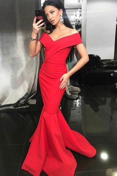 Red V Neck Cap Sleeve Floor Length Sheath Satin Mermaid Prom Dress