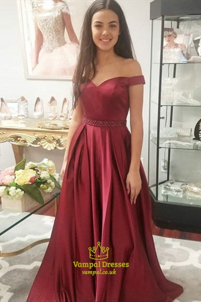 Simple A Line Off The Shoulder Satin Prom Dress With Beaded Waist