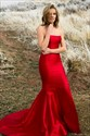 Strapless Sleeveless Mermaid Sheath Satin Long Prom Dress With Train