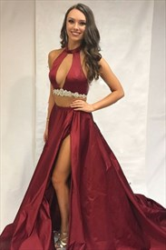 Halter Neck Keyhole Beaded Two Piece Prom Dress With Train And Split
