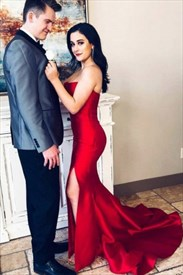 Red Strapless Mermaid Satin Prom Dress With Train And Leg Split