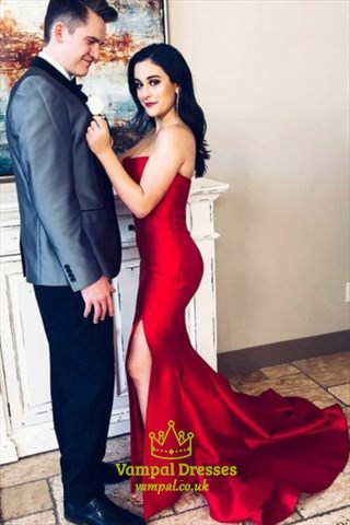 Red Strapless Mermaid Satin Prom Dress With Train And Leg