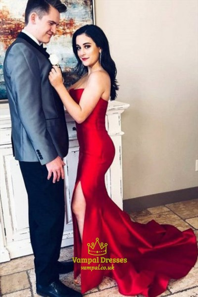 60fe70ec11a20 Red Strapless Mermaid Satin Prom Dress With Train And Leg Split ...