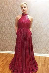 A Line Halter Neck Sleeveless Pleated Sequin Prom Dress With Pockets