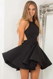 A Line Black Halter Neck Open Back Satin Short Homecoming Dress