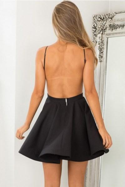 A Line Black Halter Neck Open Back Satin Short Homecoming Dress