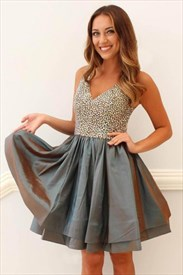 Grey V Neck Beaded Bodice Sleeveless A Line Satin Short Prom Dresses