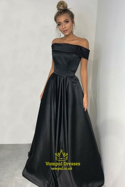 Simple A Line Navy Blue Off The Shoulder Sleeveless Satin Prom Dress