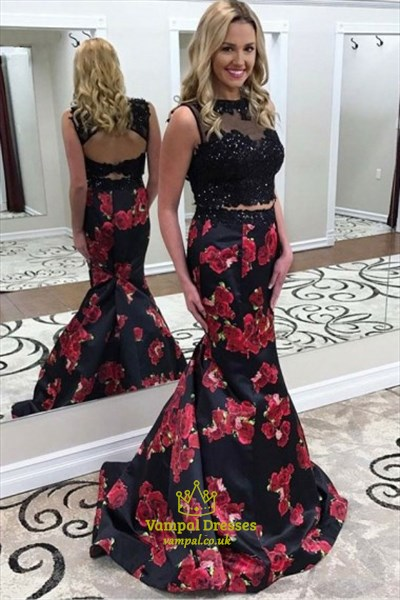 Bateau Keyhole Beaded Mermaid Floral Print Two Piece Prom Dress
