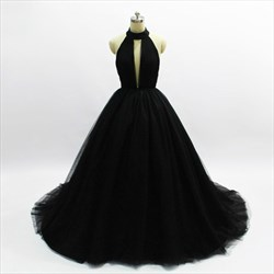 Black Halter Sleeveless Keyhole A Line Tulle Prom Dress With Train