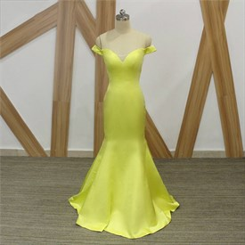 Simple Yellow Off The Shoulder Satin Sheath Mermaid Prom Dress